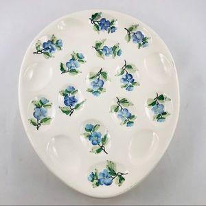 VTG Italian Deviled Egg White Platter Blue Flowers